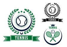 El tenis se divierte emblemas o insignias Fotografía de archivo libre de regalías