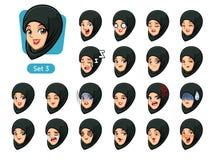 El tercer sistema de la mujer musulmán en avatares negros de la historieta del hijab libre illustration