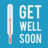 El termómetro médico y el deseo consiguen bien pronto ilustración del vector