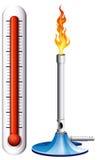 El termómetro y burnsen con la llama libre illustration