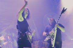 El testamento vive en banda de heavy metal pesada del movimiento de piernas del concierto 2016 Fotos de archivo libres de regalías