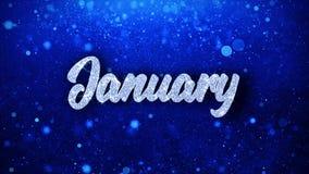 El texto azul de enero desea los saludos de las partículas, invitación, fondo de la celebración metrajes