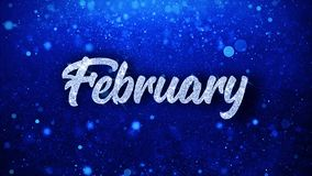 El texto azul de febrero desea los saludos de las partículas, invitación, fondo de la celebración ilustración del vector