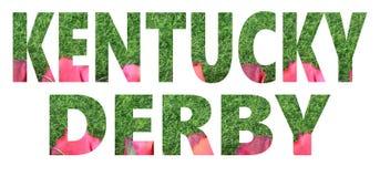 El texto cortado de rosas y de la hierba verde artificial para el funcionamiento de la raza excelente llamó el Kentucky derby fotografía de archivo