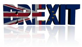 El texto de Brexit con británicos y el Eu señala el ejemplo por medio de una bandera libre illustration
