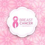 El texto de la conciencia del cáncer de pecho y la cinta rosada firman adentro la bandera blanca del círculo en diseño rosado abs stock de ilustración