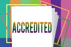 El texto de la escritura de la palabra acreditó El concepto del negocio para tener autoridad de los créditos algo certificó autor ilustración del vector