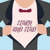 El texto de la escritura de la palabra aprende y lleva Concepto del negocio para Improve las habilidades y el knowleadge a caber  ilustración del vector