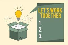 El texto de la escritura de la palabra dejó s es trabajo junto El concepto del negocio para Unite y se une a fuerzas para alcanza ilustración del vector