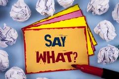 El texto de la escritura de la palabra dice qué pregunta Concepto del negocio para la repetición la cosa usted dijo la expresión  Fotos de archivo