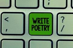 El texto de la escritura de la palabra escribe poesía Concepto del negocio para escribir a literatura ideas melancólicas roanalys fotos de archivo libres de regalías