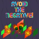 El texto de la escritura de la palabra evita la negativa Concepto del negocio para pedir que alguien vaya para la altitud positiv stock de ilustración