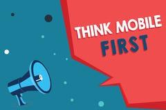 El texto de la escritura de la palabra piensa el primer concepto del negocio del móvil para el contenido accesible 24 o 7 del dis libre illustration