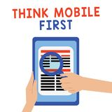 El texto de la escritura piensa el primer concepto del móvil que significa el contenido accesible 24 o 7 del dispositivo de bolsi ilustración del vector