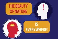 El texto de la escritura que escribe la belleza de la naturaleza está por todas partes Las escenas naturales del significado del  stock de ilustración
