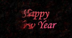 El texto de la Feliz Año Nuevo da vuelta al polvo de la izquierda en fondo negro Fotos de archivo