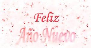 El texto de la Feliz Año Nuevo en español nuevo del ano de Feliz da vuelta para sacar el polvo de f Foto de archivo libre de regalías