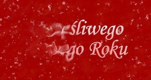 El texto de la Feliz Año Nuevo en Szczesliwego polaco Nowego Roku da vuelta a t Imagen de archivo