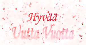 El texto de la Feliz Año Nuevo en vuotta finlandés del uutta de Hyvaa da vuelta al dus Imagen de archivo libre de regalías