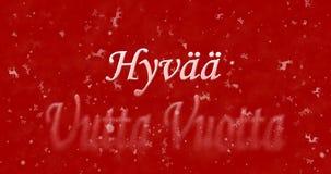 El texto de la Feliz Año Nuevo en vuotta finlandés del uutta de Hyvaa da vuelta al dus Fotografía de archivo libre de regalías
