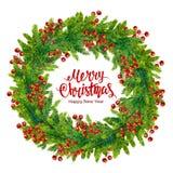 El texto de la Feliz Navidad con la guirnalda de la acuarela del abeto ramifica Imágenes de archivo libres de regalías