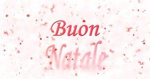 El texto de la Feliz Navidad en italiano Buon Natale da vuelta al polvo de Fotos de archivo