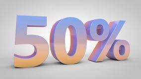 el texto de la pendiente del 50% en el fondo blanco, 3d rinde Imagen de archivo