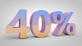 el texto de la pendiente del 40% en el fondo blanco, 3d rinde Fotos de archivo