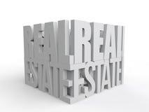 el texto de las propiedades inmobiliarias 3d arregló formar un cubo Fotos de archivo libres de regalías