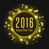 El texto del cartel 2016 de la Feliz Año Nuevo, los fuegos artificiales abstractos brilla la luz que brilla intensamente Fotos de archivo