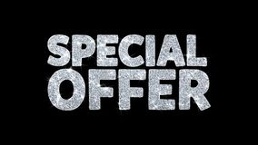 El texto del centelleo de la oferta especial desea la tarjeta de felicitaciones azul de las partículas, invitación, fondo de la c stock de ilustración