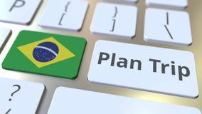El texto del VIAJE del PLAN y la bandera del Brasil en el teclado de ordenador, viaje relacionaron la animación 3D libre illustration