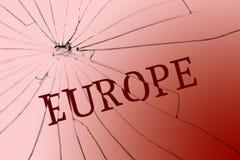 El texto Europa sobre el vidrio quebrado Concepto de la oposición o del racismo fotos de archivo