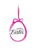 El texto feliz de Pascua en cepillo rosado pintó el huevo de Pascua para la tarjeta de felicitación pascual Ilustración del vecto libre illustration