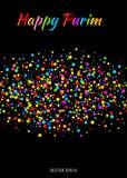 El texto feliz del carnaval de Purim del vector con el arco iris colorido colorea la tira de papel de la nube del confeti en fond Imagen de archivo