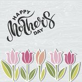 El texto feliz del día del ` s de la madre en la imitación de madera texturizó el fondo Fotos de archivo libres de regalías
