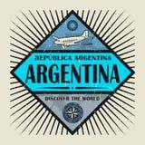 El texto la Argentina del emblema del sello o del vintage, descubre el mundo stock de ilustración