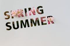 El texto perforado en la tarjeta de papel, cortando estilo, las palabras de la primavera, verano, adornó las flores rosadas Copie Fotografía de archivo