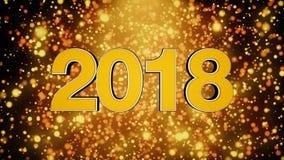 El texto tridimensional 2018 con partículas y una fuente de luz Composición del Año Nuevo con amarillo y anaranjado ricos Imágenes de archivo libres de regalías
