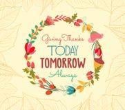 El thankgiving feliz con las hojas y la tarjeta de felicitación de la flor ilustración del vector