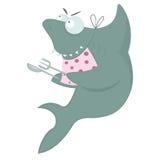 El tiburón está esperando la cena ilustración del vector