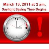 El tiempo de ahorro de hora solar comienza. Foto de archivo libre de regalías