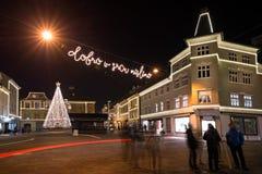 El tiempo de la Navidad adornó Kranj, Eslovenia Imagenes de archivo