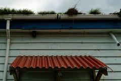 El tiempo de mantenimiento casero, una casa descuidada tiene hierba que crece fuera de sus canales fotos de archivo