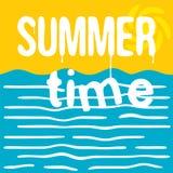 El tiempo de verano caliente Tarjeta de felicitación retra Ejemplo plano del estilo Imagen de archivo
