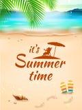 El tiempo de verano en el paisaje marino del fondo, playa, agita con los objetos realistas Ilustración del vector Fotografía de archivo libre de regalías