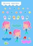El tiempo de verano - pequeña sirena preciosa y sus amigos del océano - aisló libre illustration