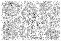 El tiempo del café garabatea símbolos dibujados mano del vector libre illustration