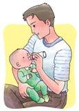 El tiempo del papá al bebé se sienta ilustración del vector