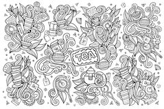 El tiempo del té garabatea símbolos incompletos dibujados mano del vector Foto de archivo libre de regalías